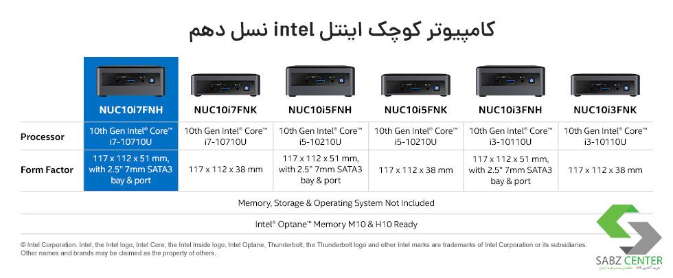 تمامی کامپیوتر های کوچک اینتل نسل 10