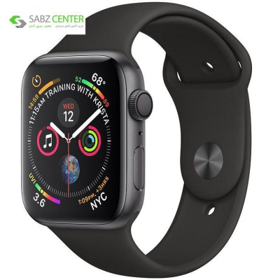 ساعت هوشمند اپل واچ 4 مدل 44mm Space Gray Aluminum Case with Black Sport Band | Apple Watch Series 4 GPS 44mm Space Gray Aluminum Case with Black Sport Band